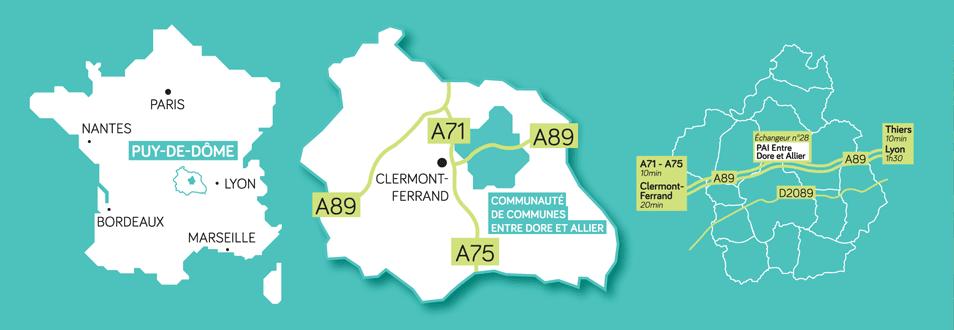 Situation géographique - Entre Dore et Allier