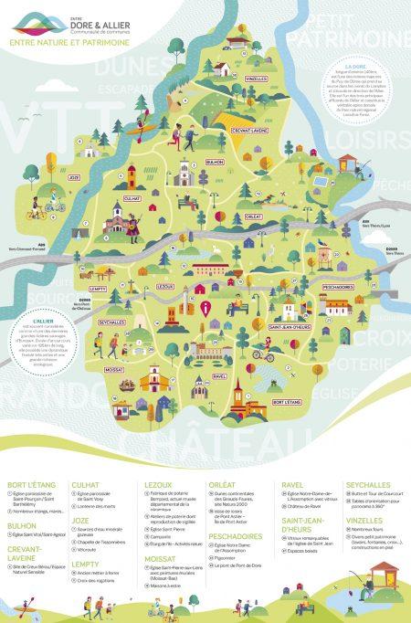 Découvrez la carte touristique Entre Dore et Allier